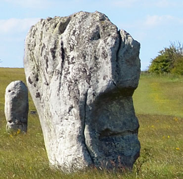 A Stone Face Visible on a Megalith at Avebury
